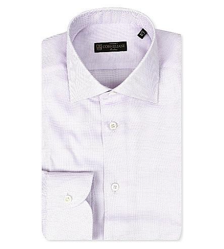 CORNELIANI Spread-collar single-cuff shirt (Violet