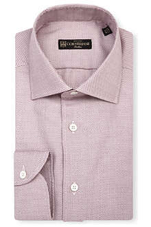 CORNELIANI Zig-zag slim-fit single-cuff shirt