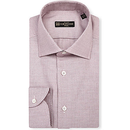 CORNELIANI Zig-zag slim-fit single-cuff shirt (Burg