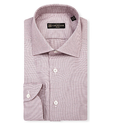 CORNELIANI Zig-zag slim-fit single-cuff shirt (Burg