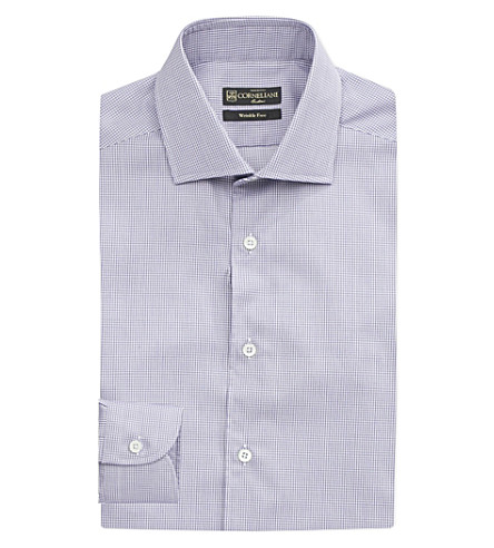 CORNELIANI Check-pattern slim-fit cotton shirt (Sky+blue