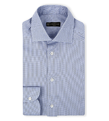 CORNELIANI Check-pattern slim-fit cotton shirt (Blue