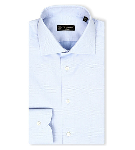 CORNELIANI Regular-fit single-cuff cotton shirt (Blue