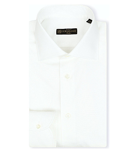 CORNELIANI Spread-collar single-cuff shirt (White