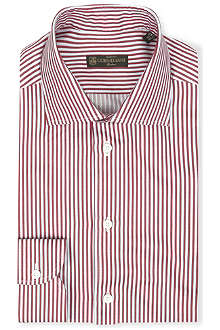 CORNELIANI Striped spread-collar single-cuff shirt