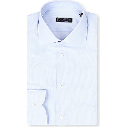 CORNELIANI Spread-collar single-cuff shirt (Blue