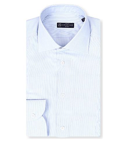 CORNELIANI Spread-collar single-cuff shirt (Blue