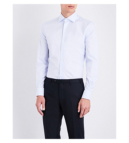 CORNELIANI Herringbone-weave slim-fit cotton shirt (Blue