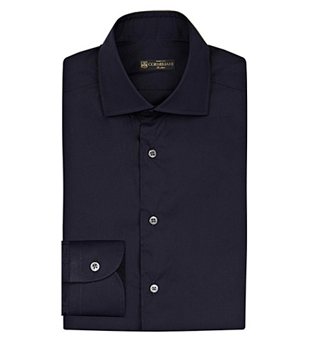CORNELIANI Slim-fit stretch-cotton shirt (Navy