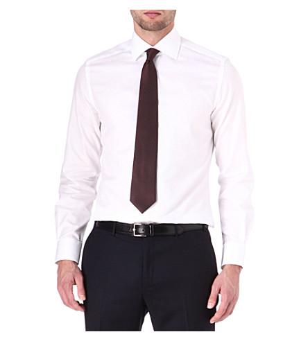 CORNELIANI Solid cotton twill shirt (White