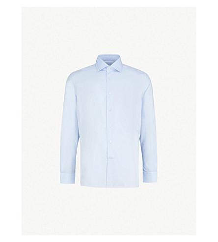 CORNELIANI Plain regular-fit single-cuff shirt (Sky