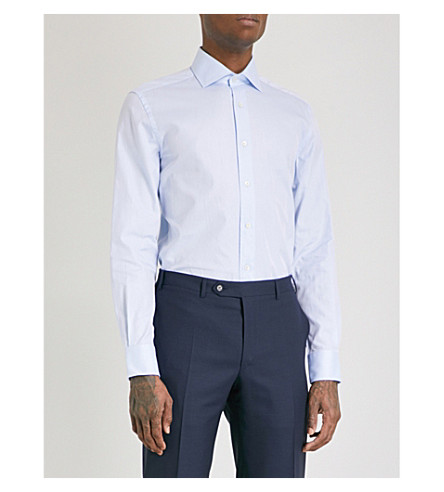 CORNELIANI Plain regular-fit single-cuff shirt (Sky