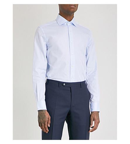 CORNELIANI 素色常规版型单袖衬衫 (天