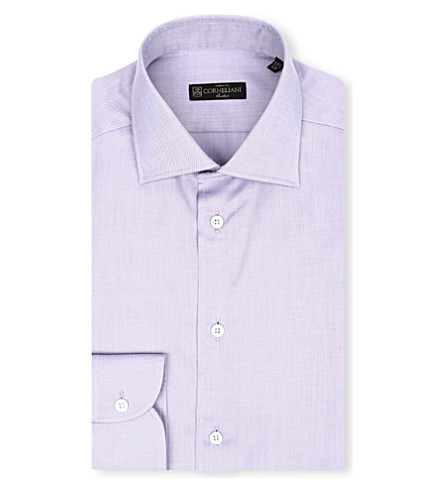 CORNELIANI Slim-fit cotton shirt (Purple