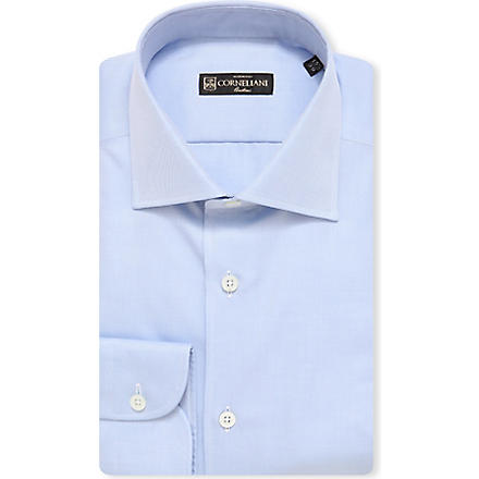 CORNELIANI Plain spread-collar single-cuff shirt (Sky