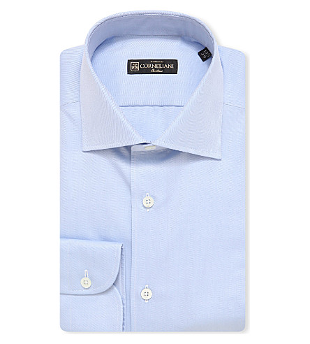 CORNELIANI Slim-fit cotton shirt (Sky