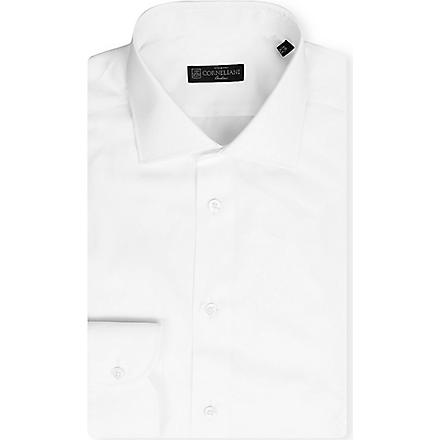 CORNELIANI Plain spread-collar single-cuff shirt (White
