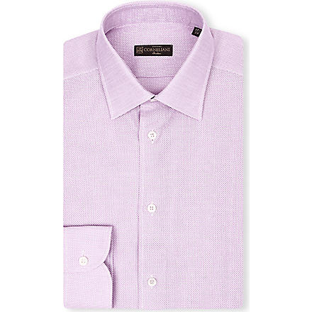 CORNELIANI Open weave spread-collar singe-cuff shirt (Pink