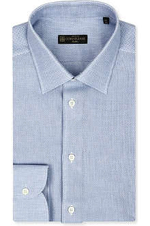 CORNELIANI Open weave spread-collar singe-cuff shirt