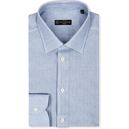 CORNELIANI Open weave spread-collar singe-cuff shirt (Sky