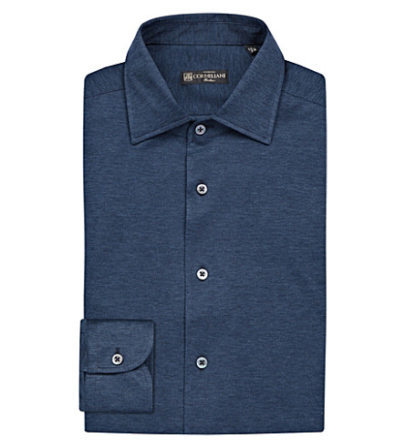 CORNELIANI Slim-fit single-cuff cotton-piqué shirt (Navy