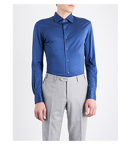 CORNELIANI Slim-fit cotton-jersey shirt (Blue