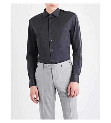 CORNELIANI Slim-fit cotton-jersey shirt (Charcoal