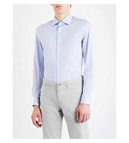 CORNELIANI Slim-fit cotton-jersey shirt (Lt+blue