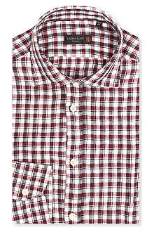 CORNELIANI Checked linen shirt