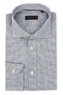 CORNELIANI Micro-gingham linen-blend shirt