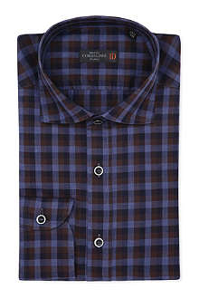 CORNELIANI Regular-fit single cuff gingham shirt