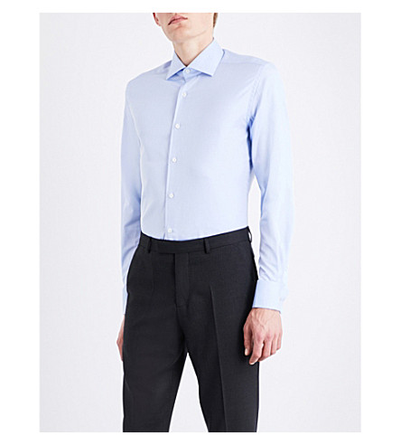 CORNELIANI Solid regular-fit cotton-twill shirt (Blue