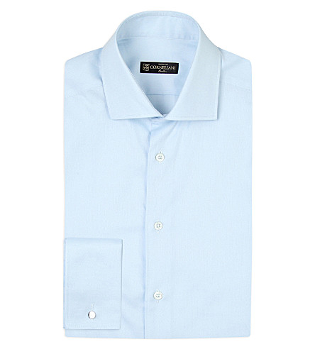 CORNELIANI Solid regular-fit cotton-twill shirt (Sky