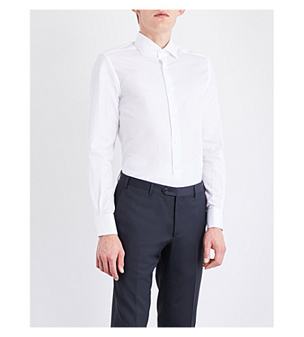 CORNELIANI Solid regular-fit cotton-twill shirt (White