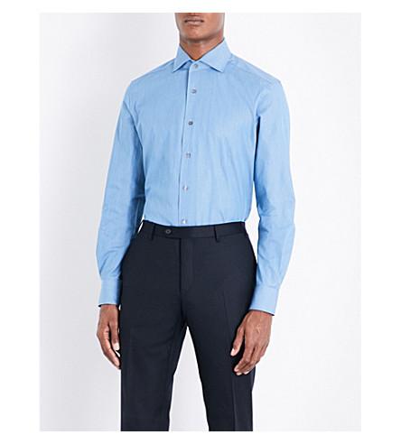CORNELIANI Regular-fit cotton chambray shirt (Chambrey