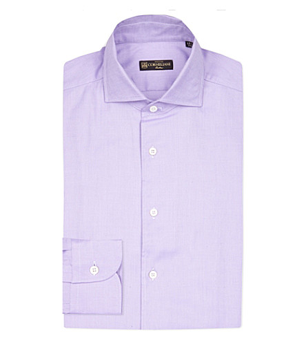 CORNELIANI Slim-fit textured cotton shirt (Lilac