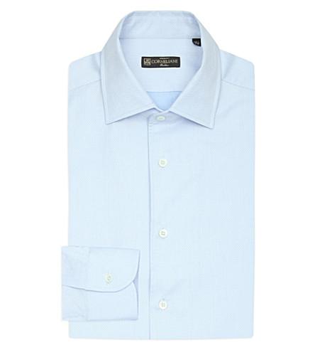 CORNELIANI Slim-fit textured cotton shirt (Lt+blue