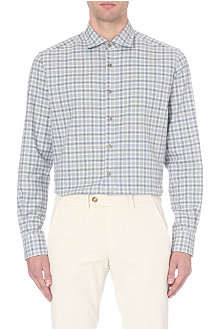CORNELIANI Check-print single-cuff brushed-cotton shirt