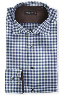 CORNELIANI Checked elbow-patch single-cuff shirt
