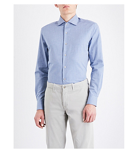 CORNELIANI Herringbone slim-fit cotton-jersey shirt (Blue