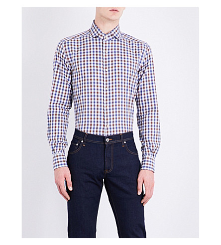 CORNELIANI Regular-fit gingham checked cotton shirt (Brown