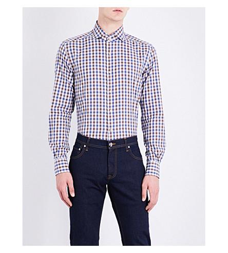 CORNELIANI Regular-fit gingham checked cotton shirt (Brown