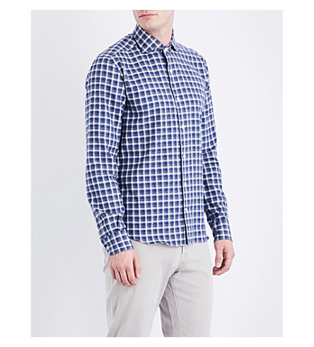 CORNELIANI Regular-fit cotton-flannel shirt (Blue