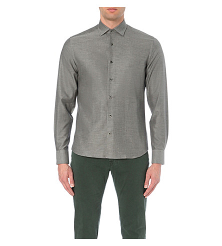CORNELIANI ID brushed cotton-twill shirt (Grey