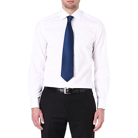 CORNELIANI Jacquard stripe double-cuff shirt (White