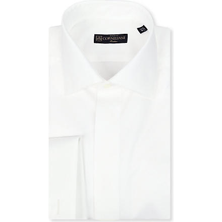 CORNELIANI Geometric jacquard shirt (White