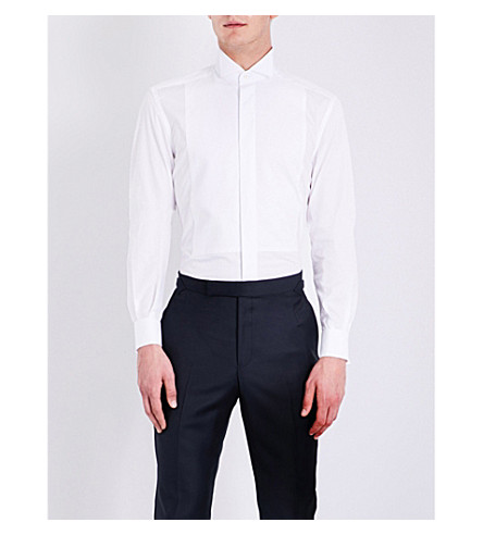 CORNELIANI Slim-fit tuxedo shirt (White