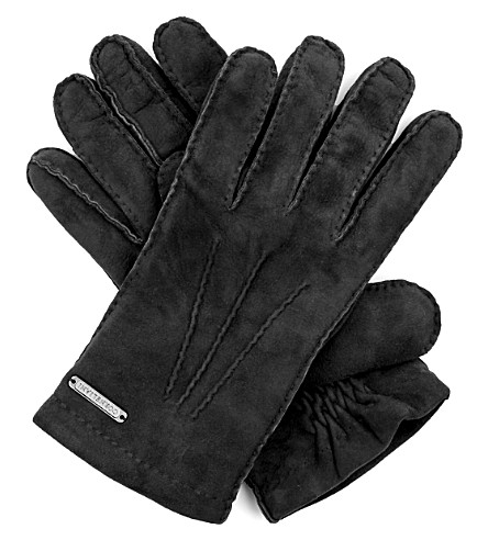 CORNELIANI Suede gloves (Black