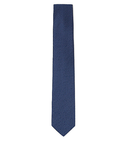 CORNELIANI Micro spots silk tie (Blue