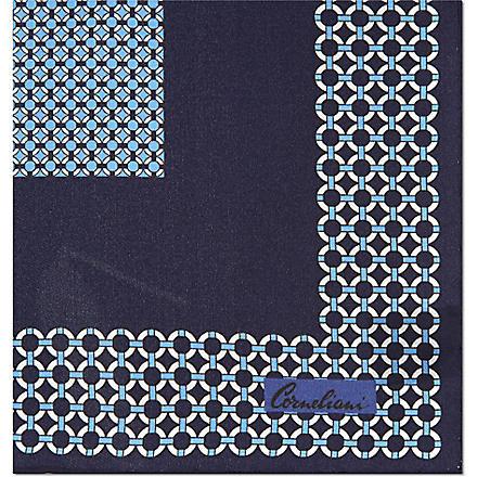 CORNELIANI Silk pocket handkerchief (Blue